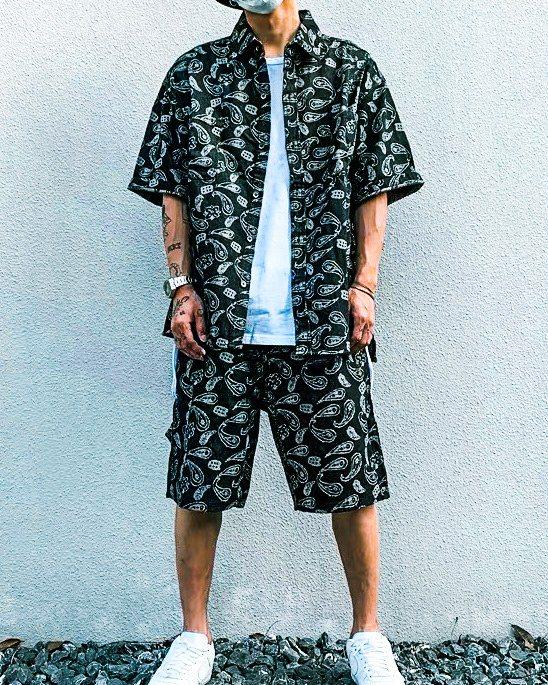 《2色》バンダナ柄ペイズリーデニム半袖シャツの画像2